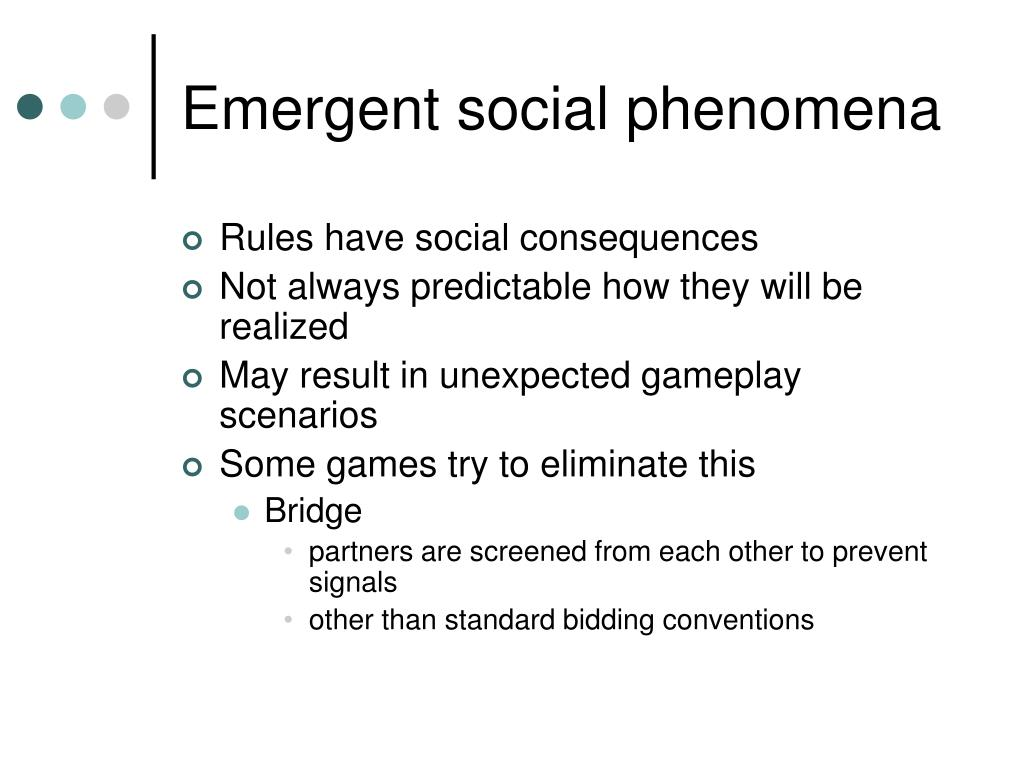 Emergent social phenomena