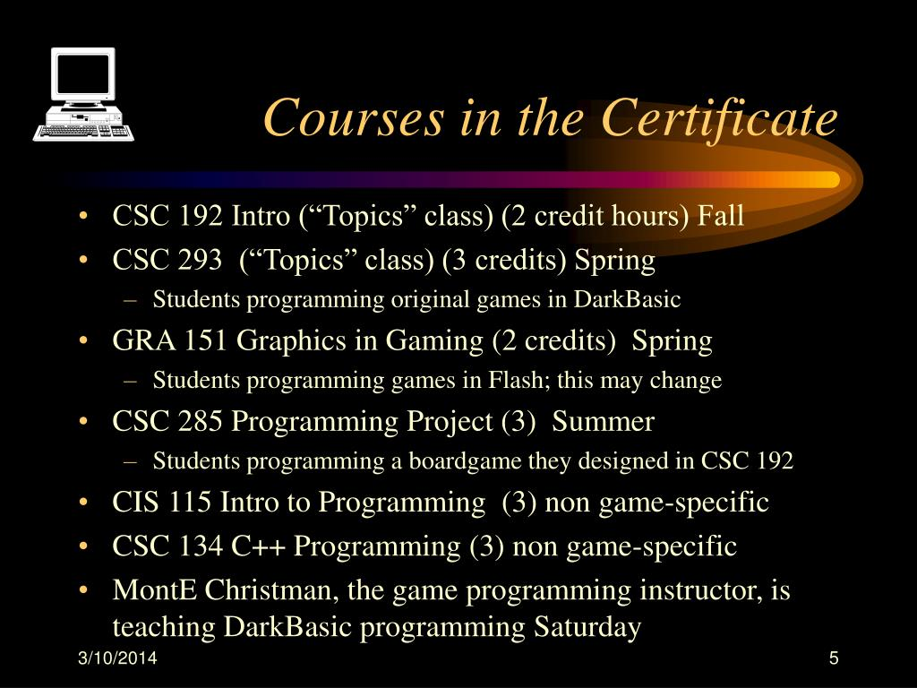 Courses in the Certificate