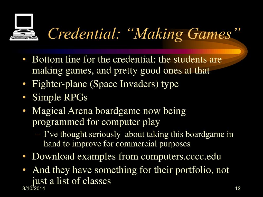 """Credential: """"Making Games"""""""