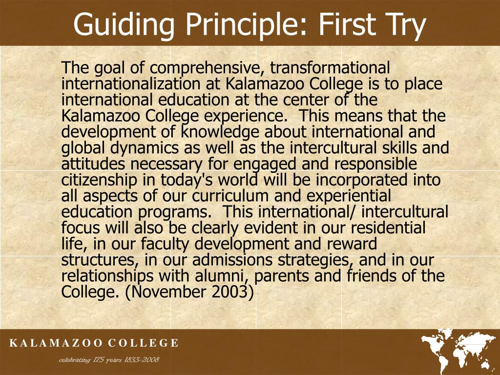 Guiding Principle: First Try