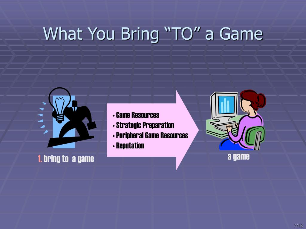 "What You Bring ""TO"" a Game"