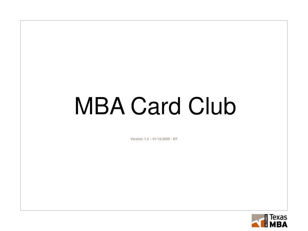 MBA Card Club