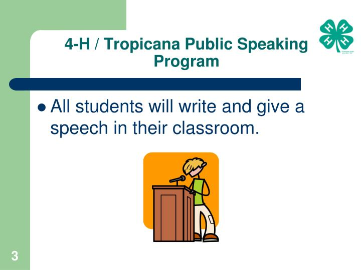 4 h tropicana public speaking program