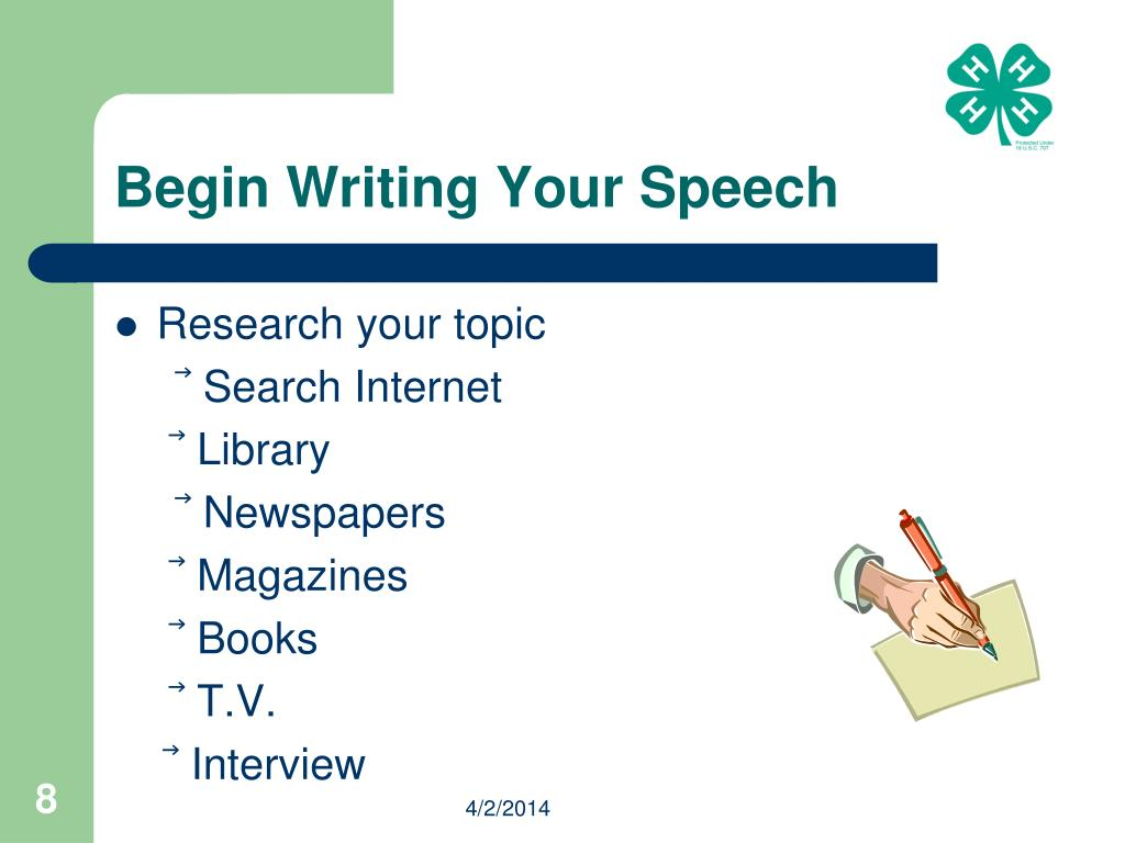 Begin Writing Your Speech