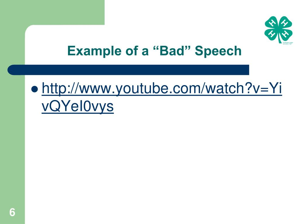 "Example of a ""Bad"" Speech"