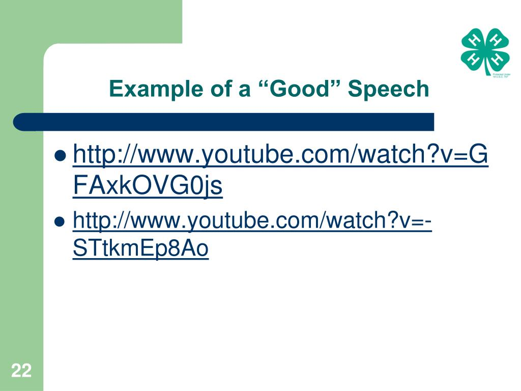 "Example of a ""Good"" Speech"