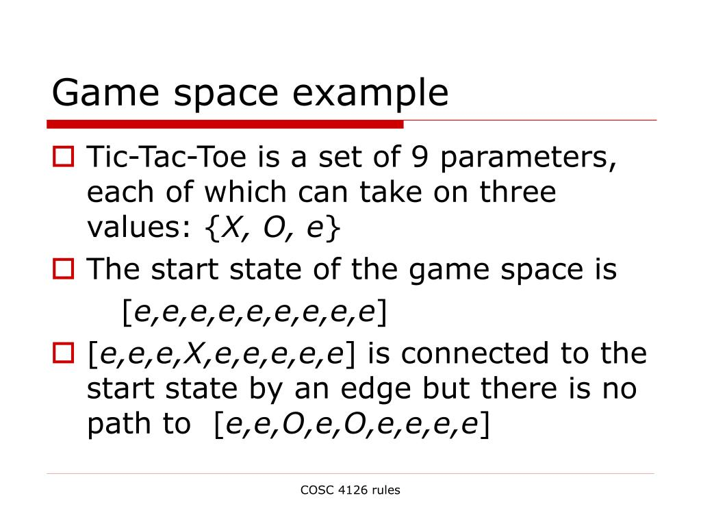 Game space example