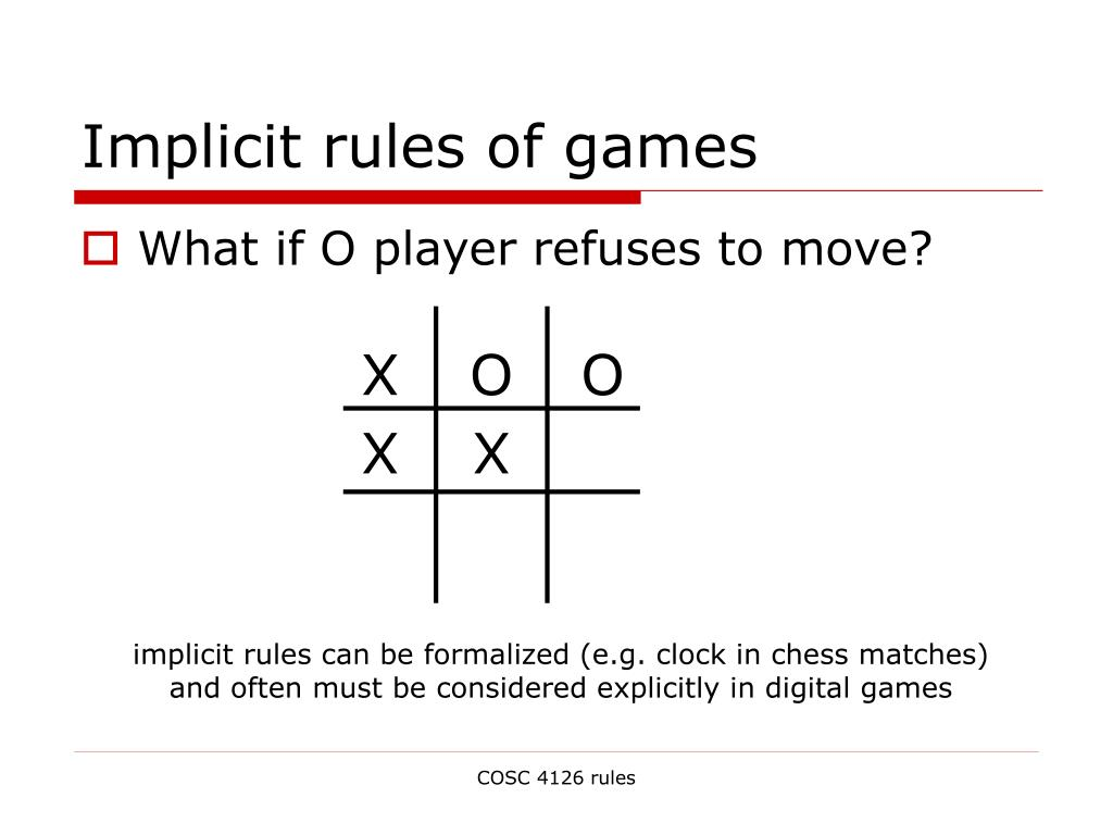 Implicit rules of games