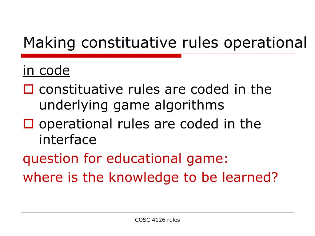 Making constituative rules operational
