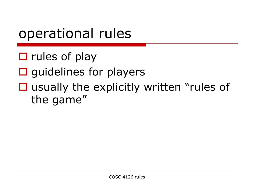 operational rules