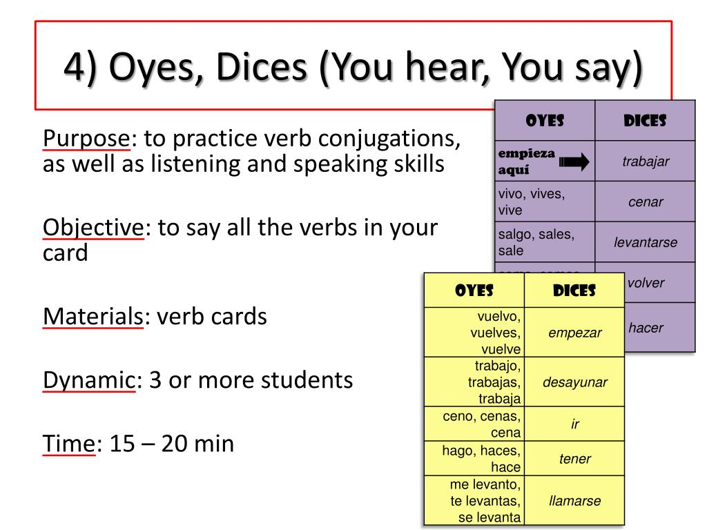 4) Oyes, Dices (