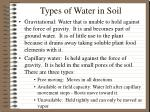 types of water in soil