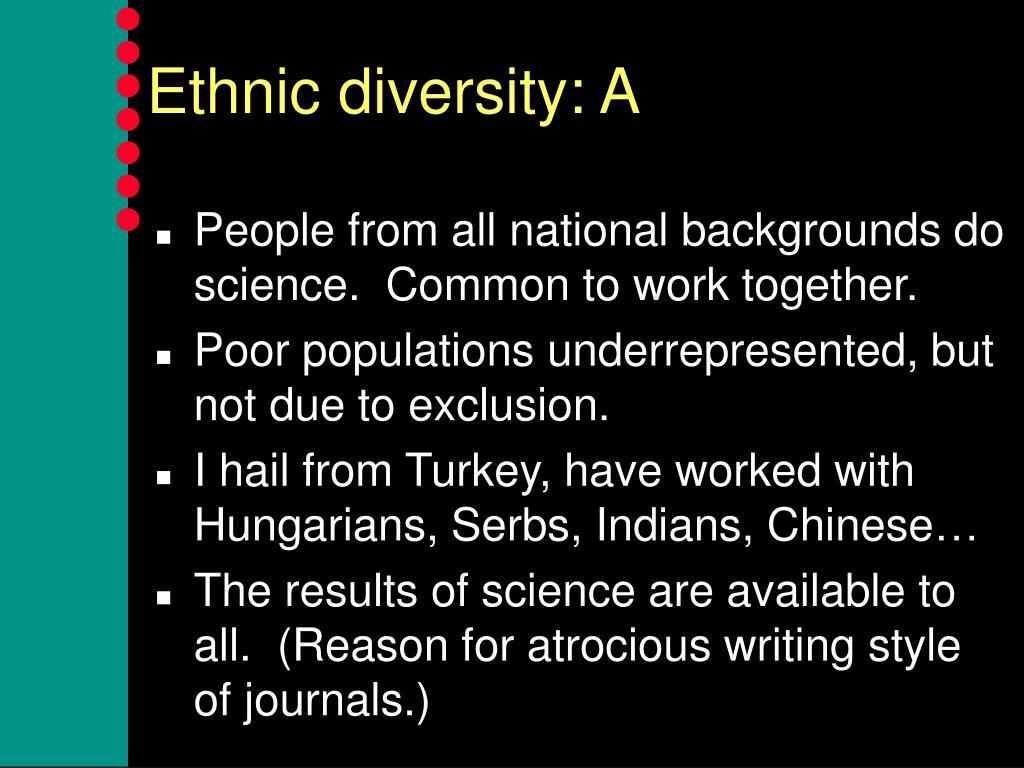 Ethnic diversity: A
