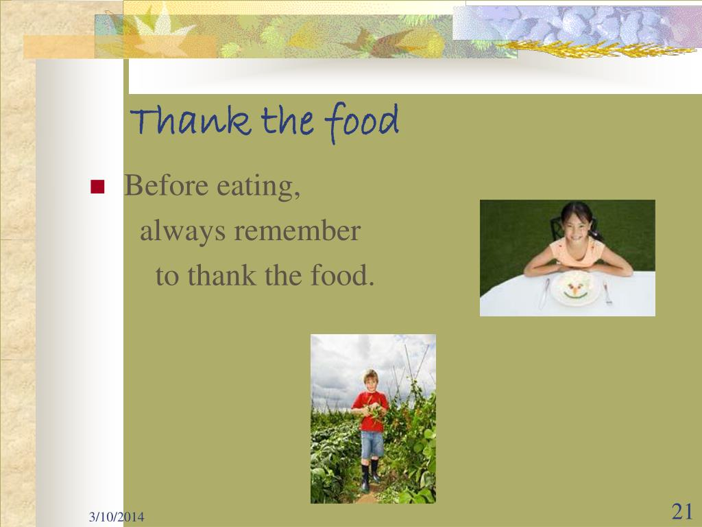 Thank the food