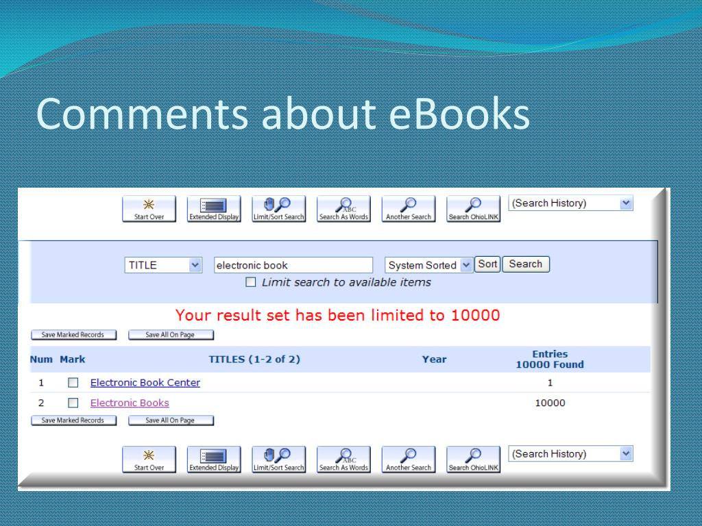 Comments about eBooks