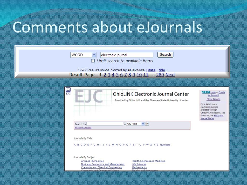 Comments about eJournals