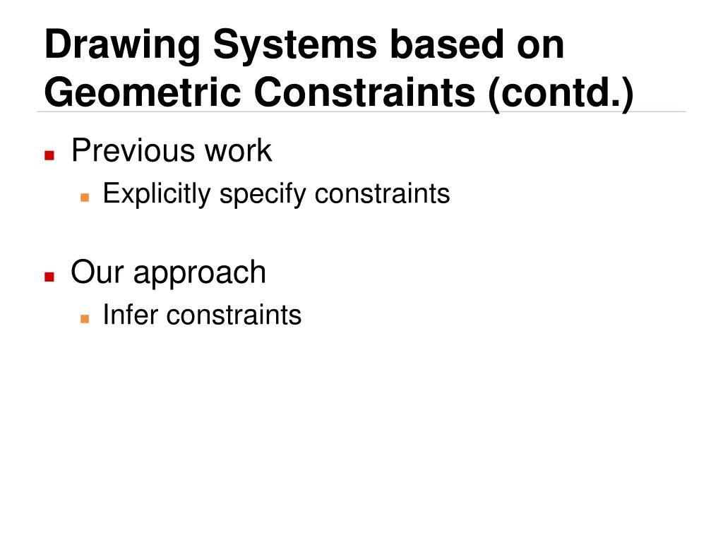 Drawing Systems based on Geometric Constraints (contd.)