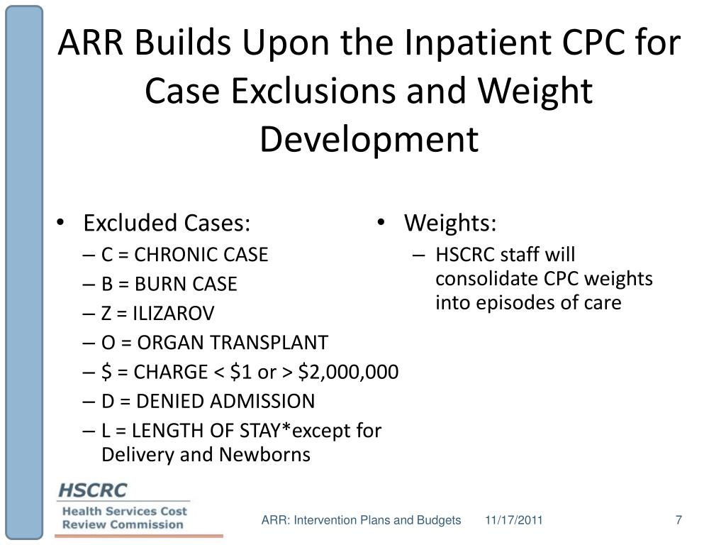 ARR Builds Upon the Inpatient CPC for Case Exclusions and Weight Development