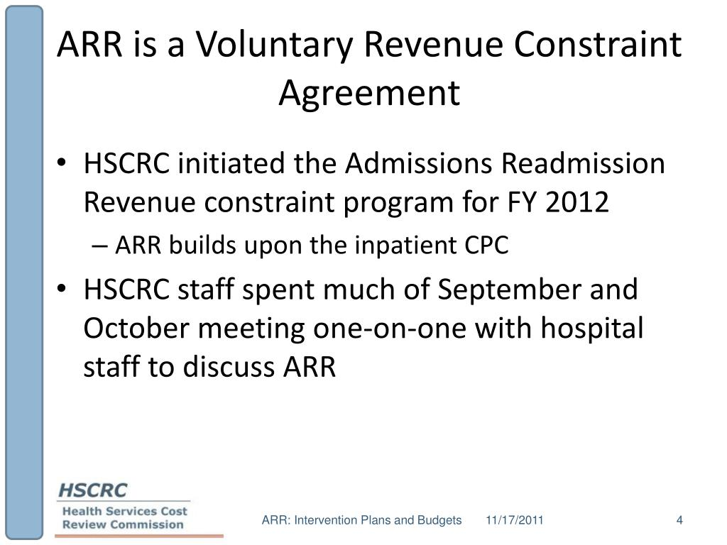 ARR is a Voluntary Revenue Constraint Agreement