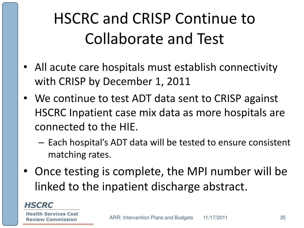 HSCRC and CRISP Continue to Collaborate and Test
