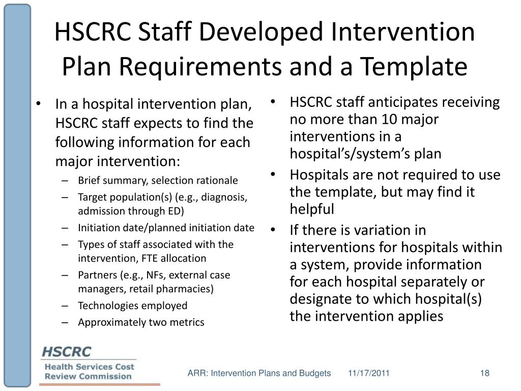 HSCRC Staff Developed Intervention Plan Requirements and a Template