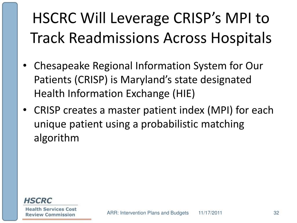 HSCRC Will Leverage CRISP's MPI to Track Readmissions Across Hospitals
