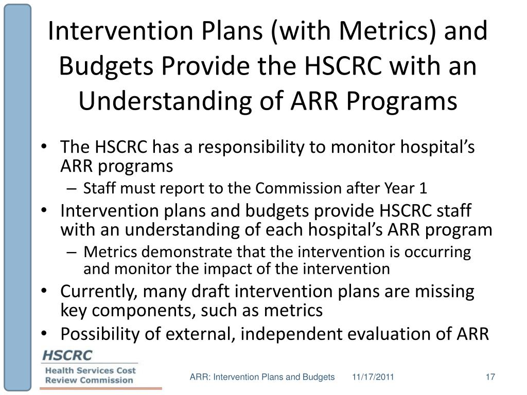 Intervention Plans (with Metrics) and Budgets Provide the HSCRC with an Understanding of ARR Programs