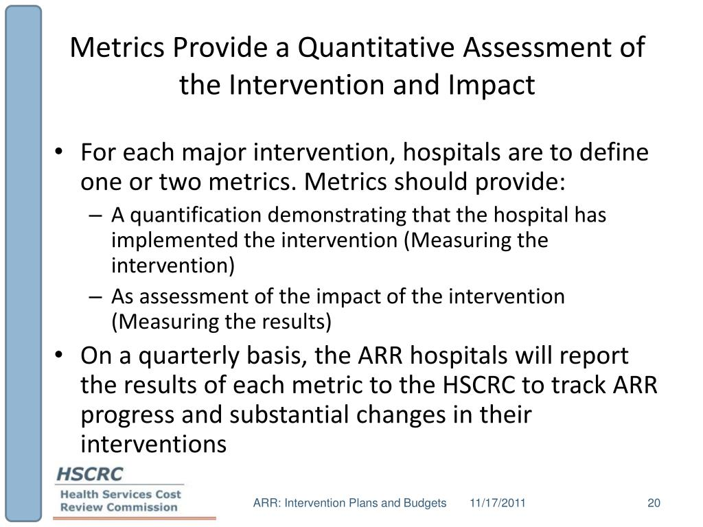 Metrics Provide a Quantitative Assessment of the Intervention and Impact