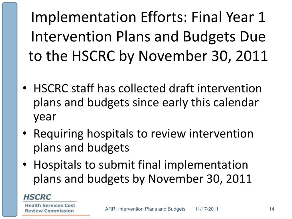 Implementation Efforts: Final Year 1 Intervention Plans and Budgets Due to the HSCRC by November 30, 2011