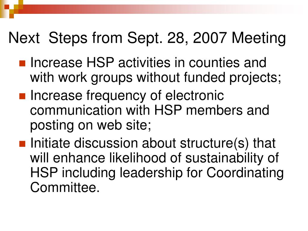 Next  Steps from Sept. 28, 2007 Meeting