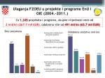 ulaganja fzoeu u projekte i programe enu i oie 2004 2011