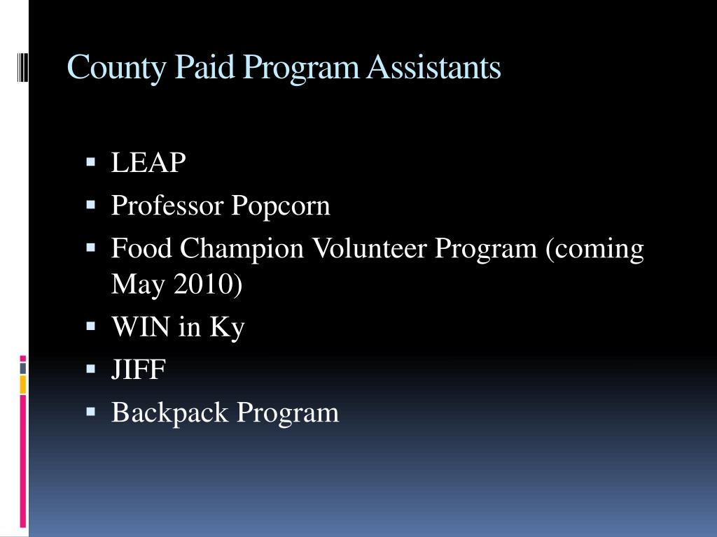 County Paid Program Assistants