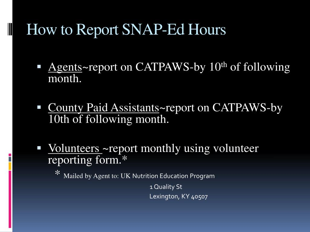 How to Report SNAP-Ed Hours
