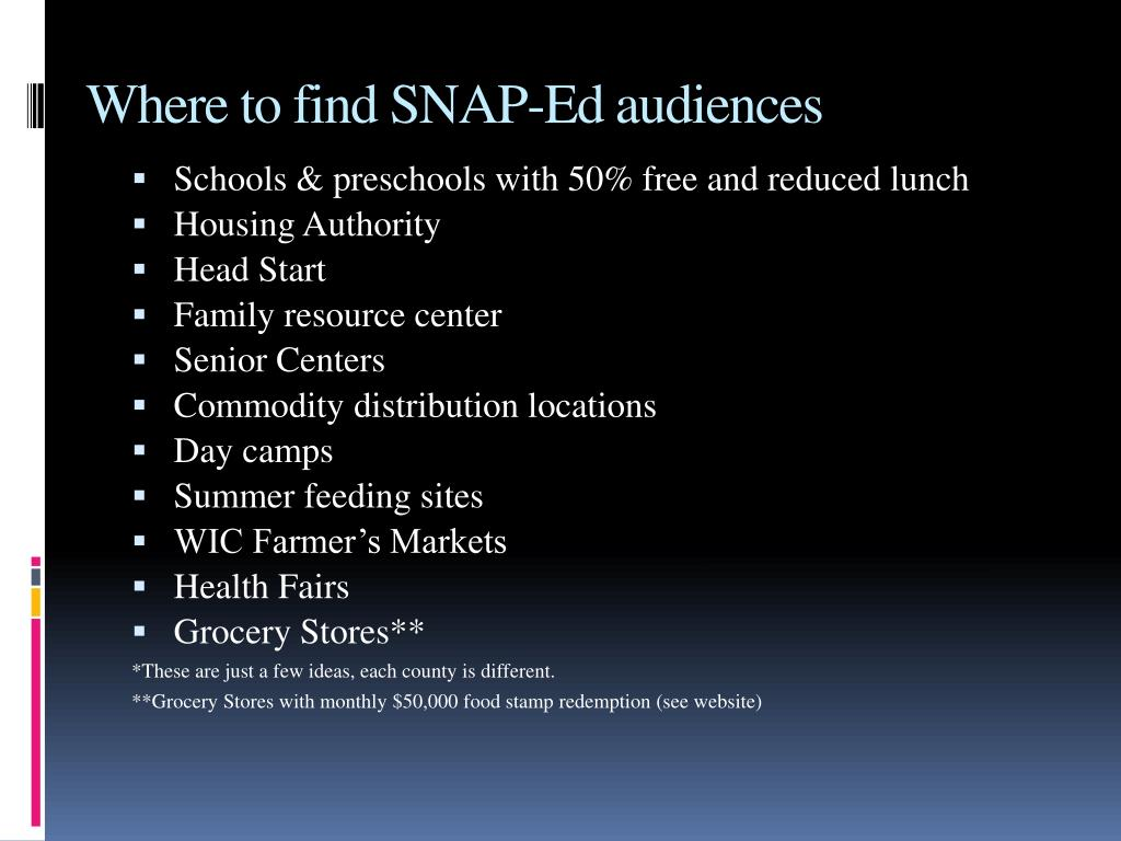 Where to find SNAP-Ed audiences