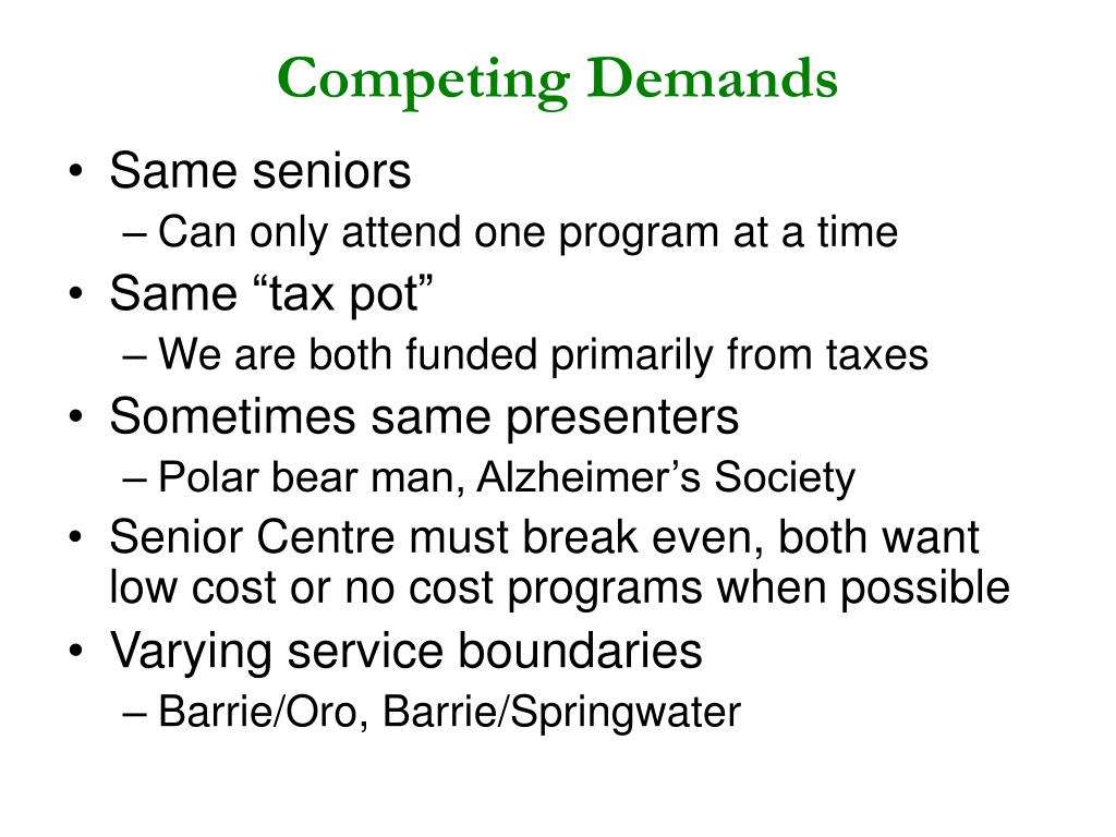 Competing Demands