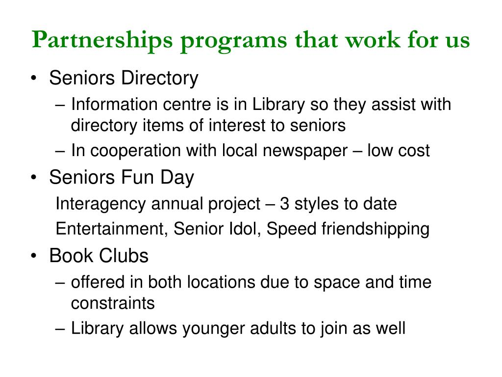Partnerships programs that work for us