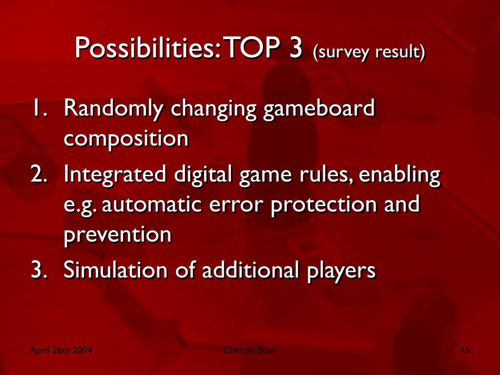 Possibilities: TOP 3
