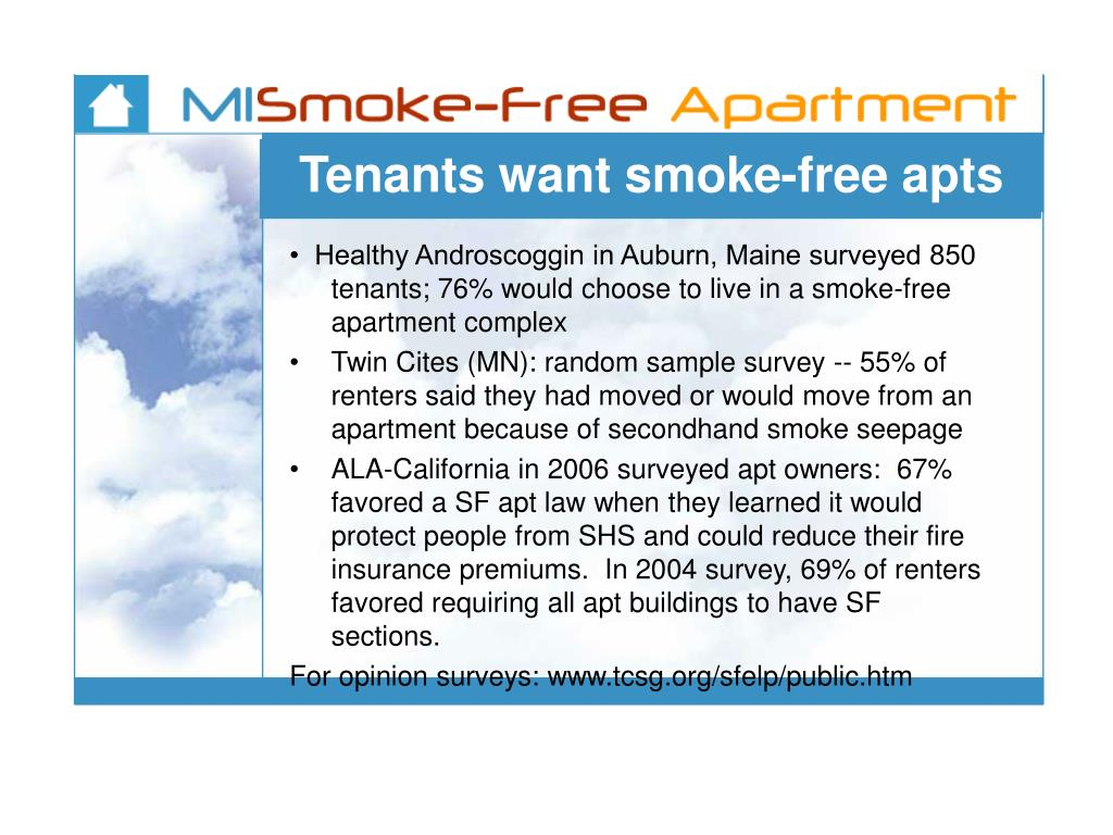 Tenants want smoke-free apts