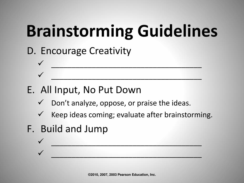 Brainstorming Guidelines