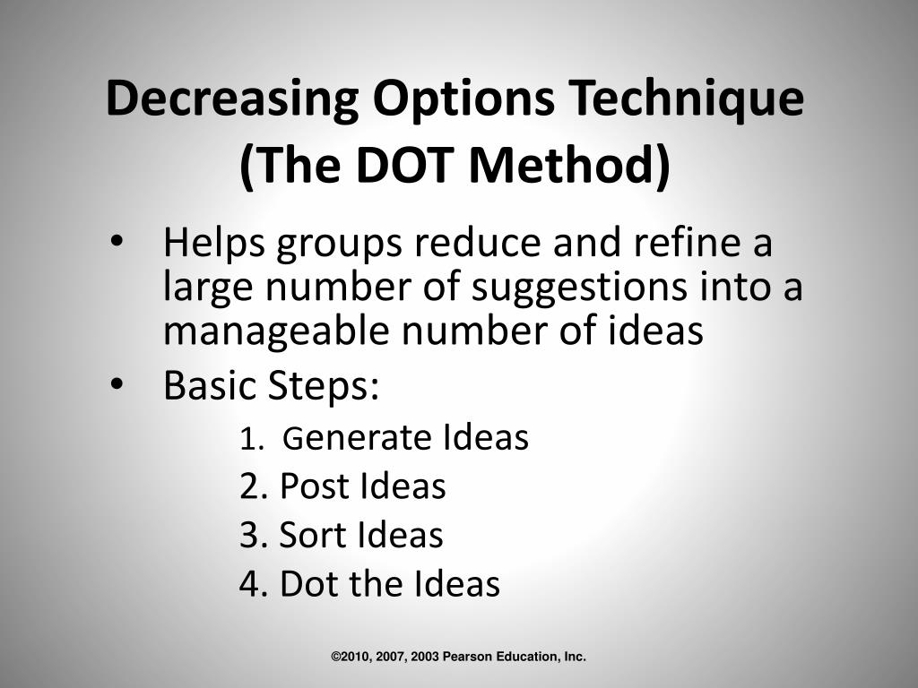Decreasing Options Technique (The DOT Method)