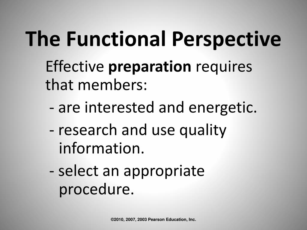 The Functional Perspective