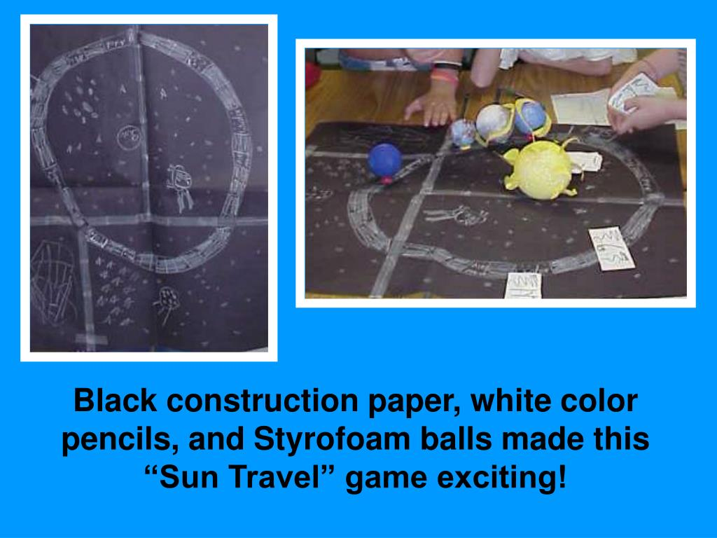 """Black construction paper, white color pencils, and Styrofoam balls made this """"Sun Travel"""" game exciting!"""