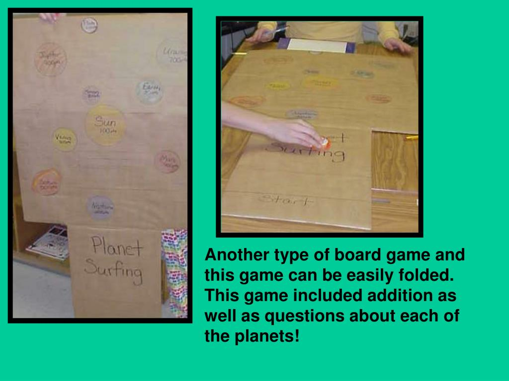 Another type of board game and this game can be easily folded.  This game included addition as well as questions about each of the planets!