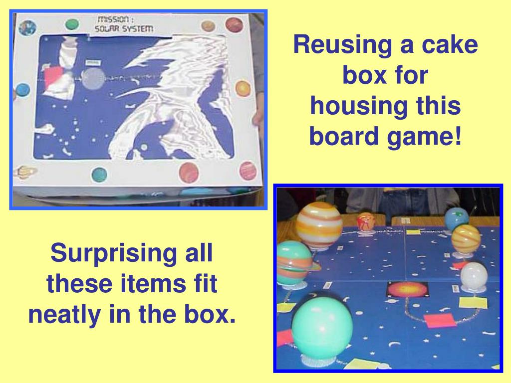 Reusing a cake box for housing this board game!