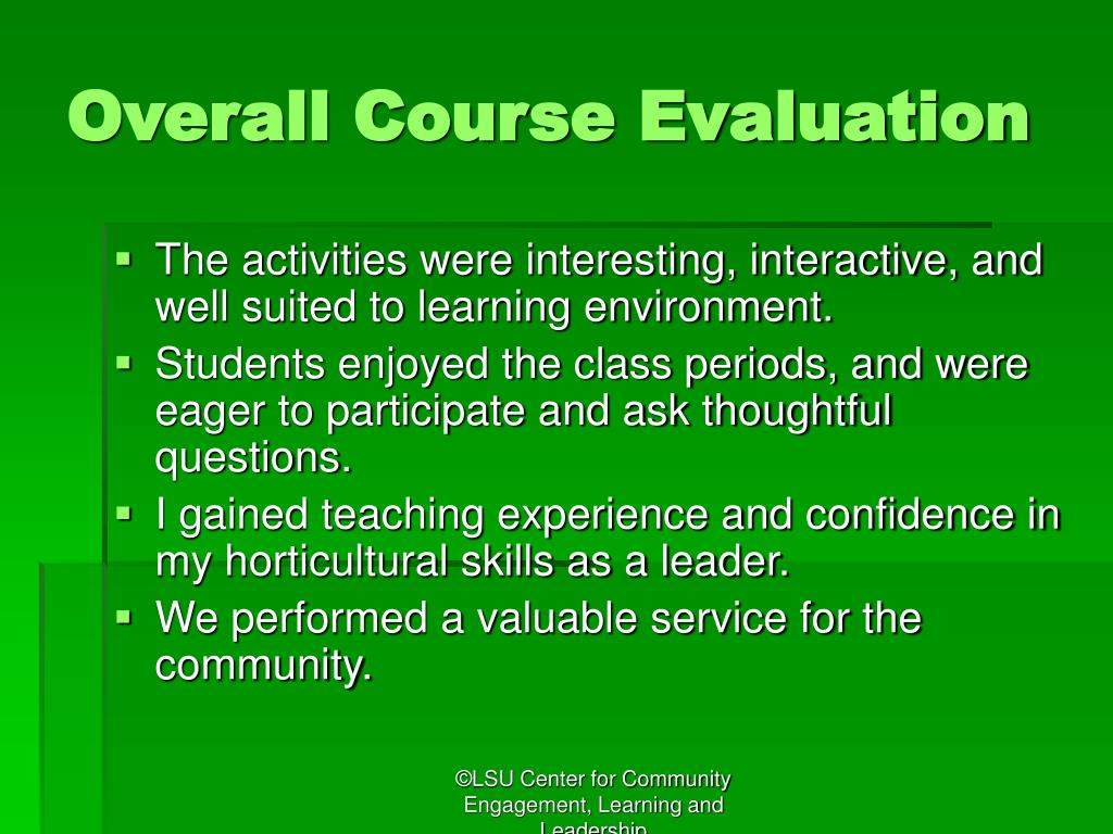 Overall Course Evaluation