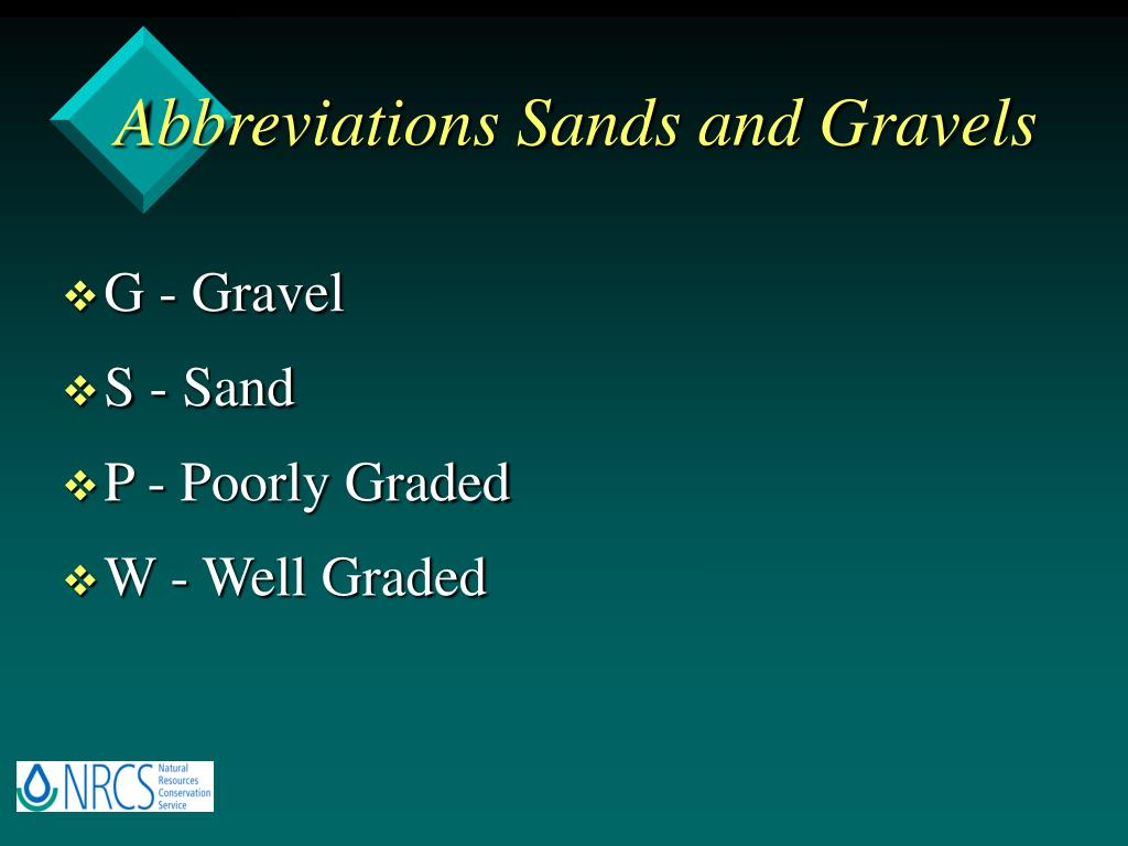 Abbreviations Sands and Gravels