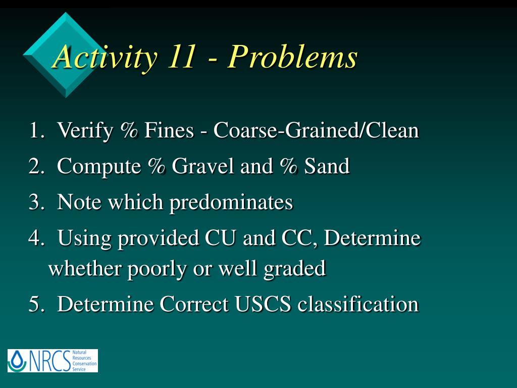 Activity 11 - Problems