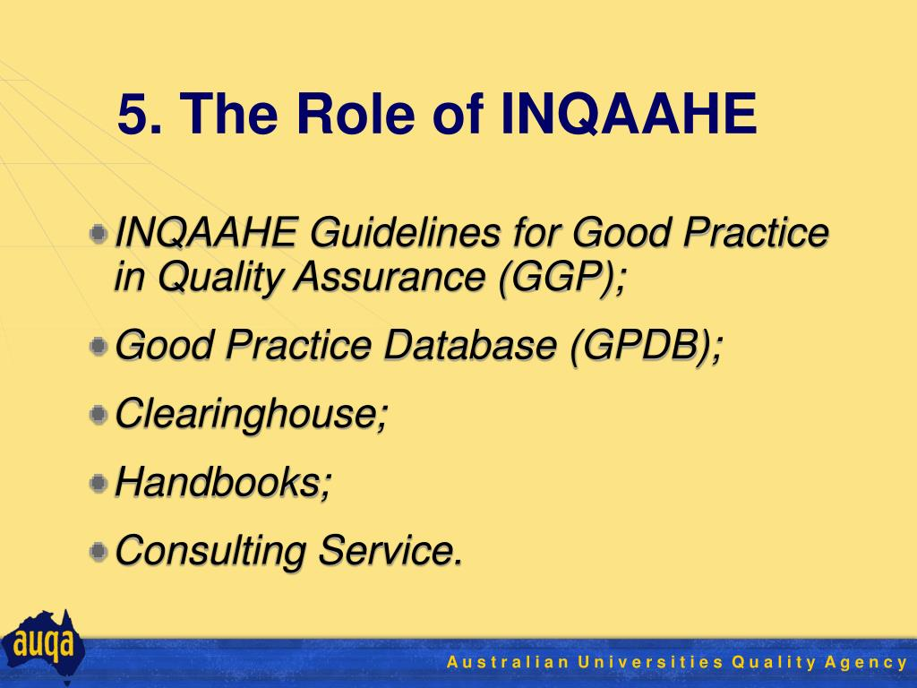 5. The Role of INQAAHE