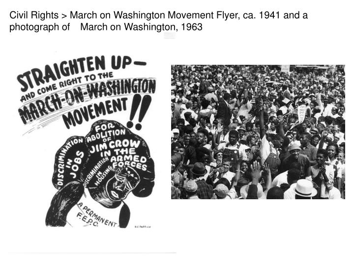 Civil Rights > March on Washington Movement Flyer, ca. 1941 and a photograph of 	March on Washington...