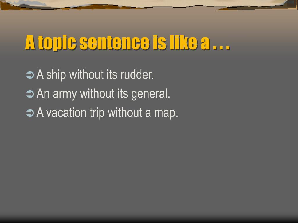 A topic sentence is like a . . .